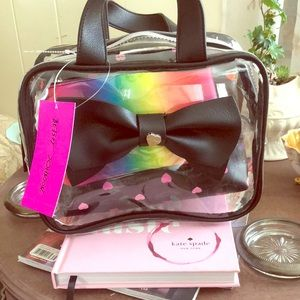 NWT Betsy Johnson 3pc cosmetic weekender blk/multi